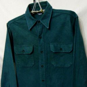 Vintage Woolrich Flannel Shirt Size L Forest Green